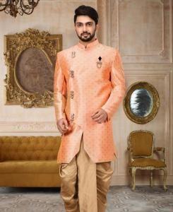 Zari Cotton Peach Mens Sherwani