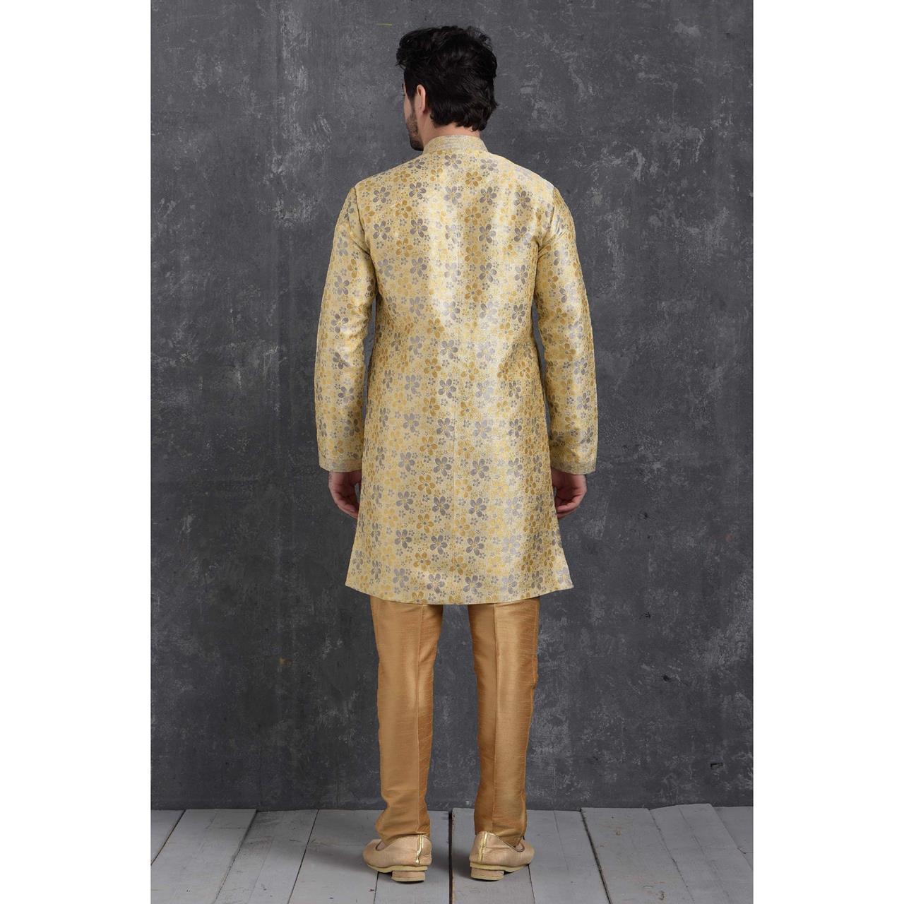 Silk Grey Cream Mens Sherwani