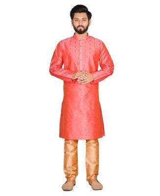 Silk Dark Peach Mens Kurta Pajama