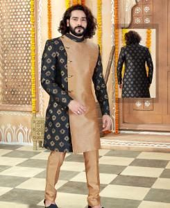 Silk Black Mens Sherwani