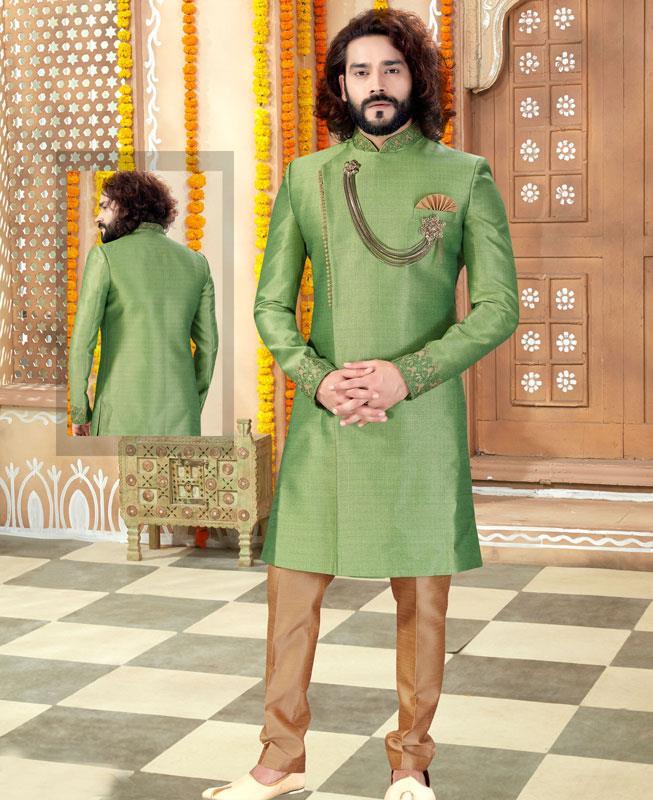Silk Light Green Mens Sherwani