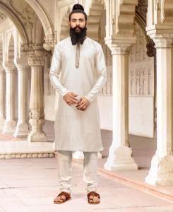 Dupion Silk White Mens Kurta Pajama