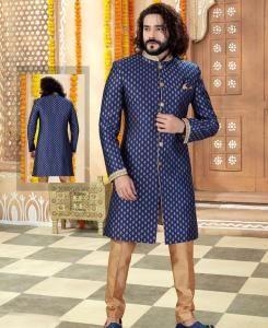 Printed Silk Navy Blue Mens Sherwani