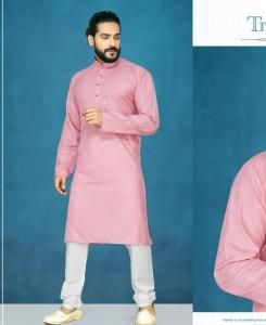 Cotton Light Peach Mens Kurta Pajama