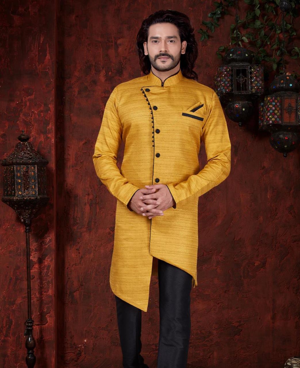 Silk Yellow Mens Sherwani