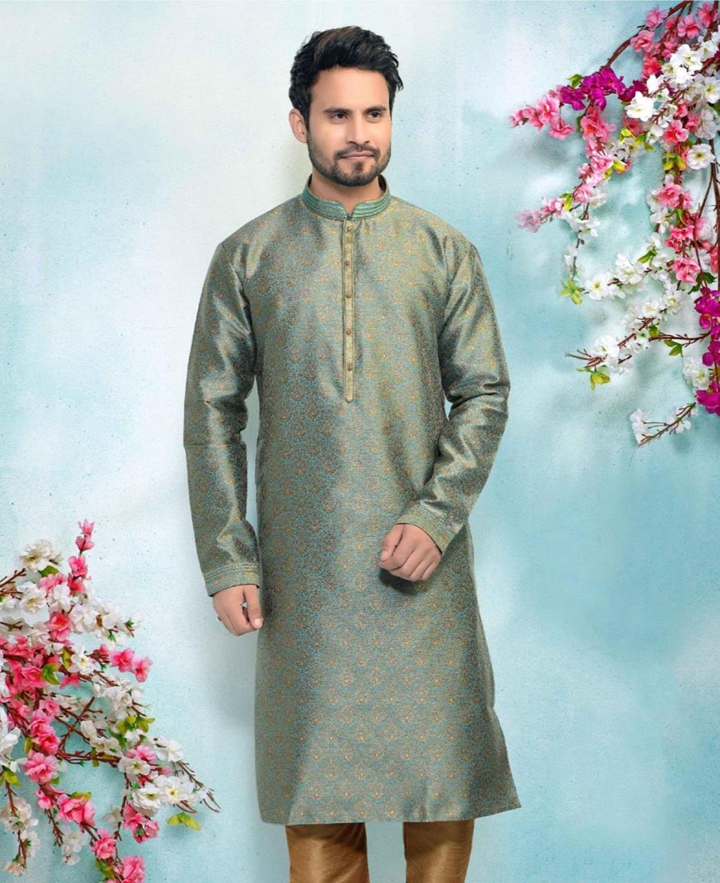 Silk Green Mens Kurta Pajama
