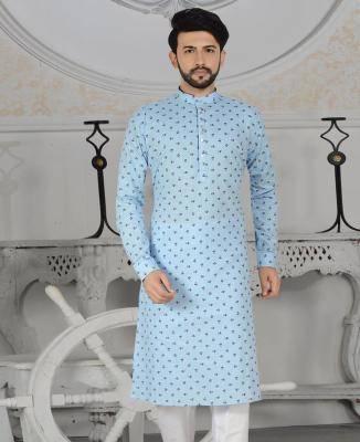 Printed Cotton Light Blue Mens Kurta Pajama