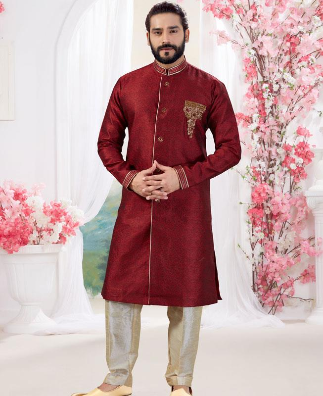 Silk Marron Mens Sherwani