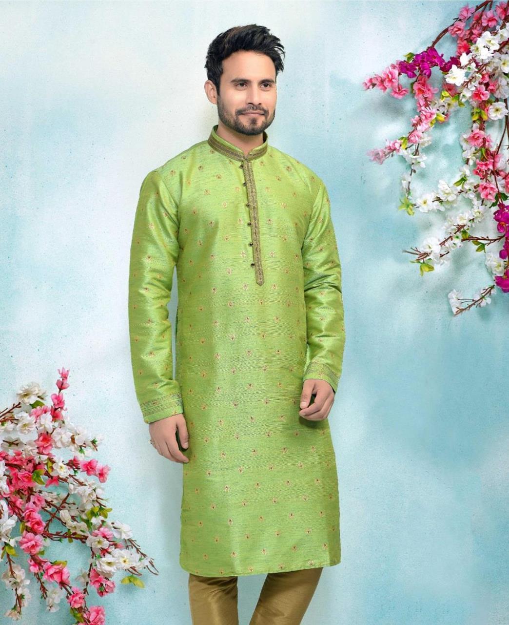 Silk Light Green Mens Kurta Pajama