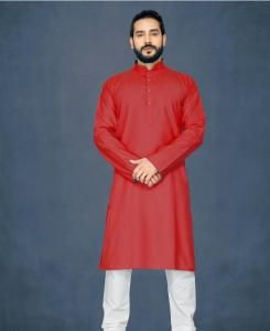 Cotton Red Mens Kurta Pajama