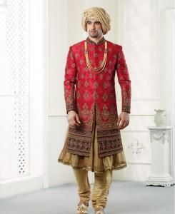 Embroidered Silk Red Mens Sherwani