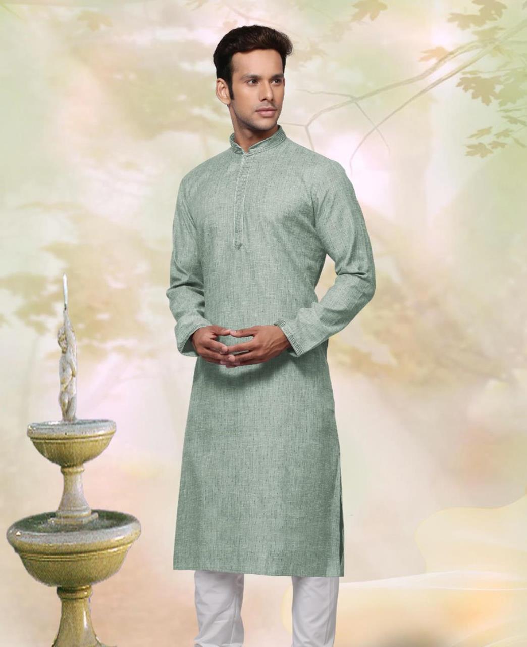 Cotton Light Perrot Green Mens Kurta Pajama
