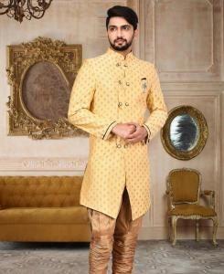 Zari Cotton Light Yellow Mens Sherwani