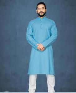 Cotton Off Sky Blue Mens Kurta Pajama