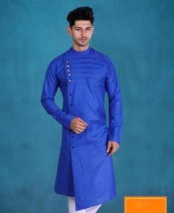Cotton Sky Blue Mens Kurta Pajama