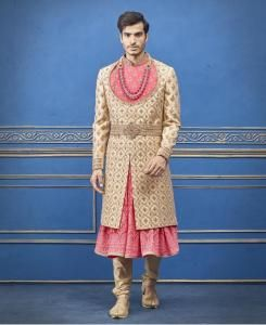 Embroidered Silk Gold Mens Sherwani