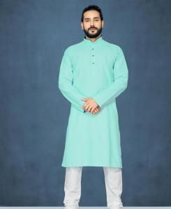 Cotton Aqua Mens Kurta Pajama