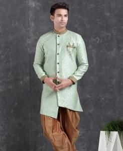Silk Sky Blue Mens Sherwani