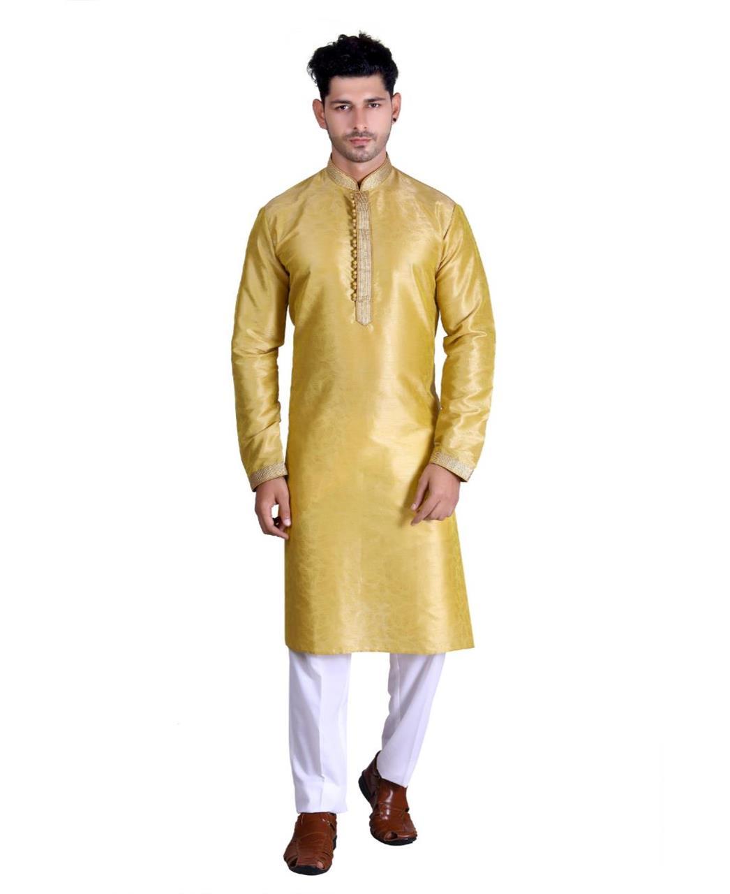 Cotton Mustard Mens Kurta Pajama