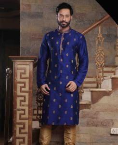 Silk Blue Mens Kurta Pajama