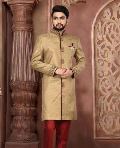 HandWorked Silk Dark Beige Mens Sherwani