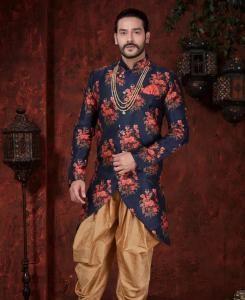 Printed Silk Nevy Blue  ,  Red Mens Sherwani