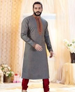 Cotton Grey Mens Kurta Pajama