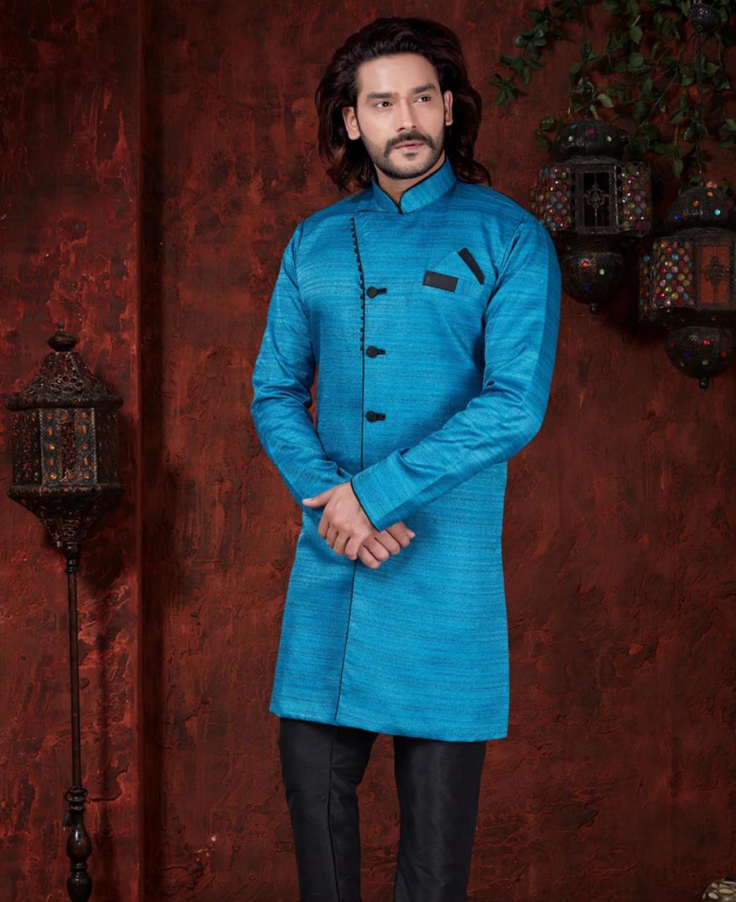 Silk Dark Sky Blue Mens Sherwani
