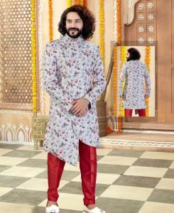 Printed Silk Off White Mens Sherwani