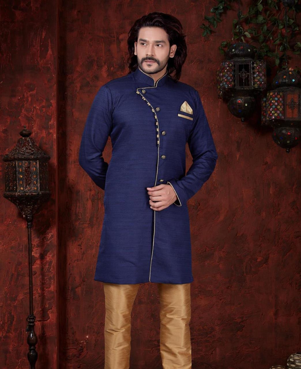 Silk Nevy Blue Mens Sherwani