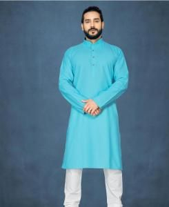 Cotton Sky Blue Mens Kurta Pajama