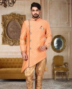 Zari Cotton Light Orange Mens Sherwani