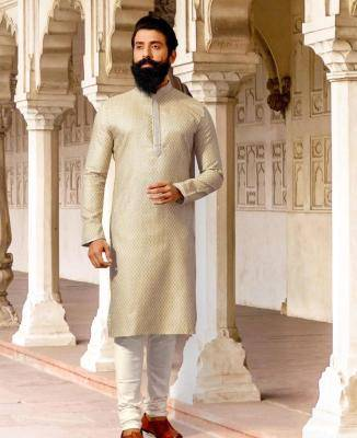 Silk Cream Mens Kurta Pajama