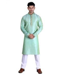 Cotton Sky Green Mens Kurta Pajama