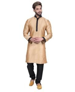 Silk Golden Mens Kurta Pajama