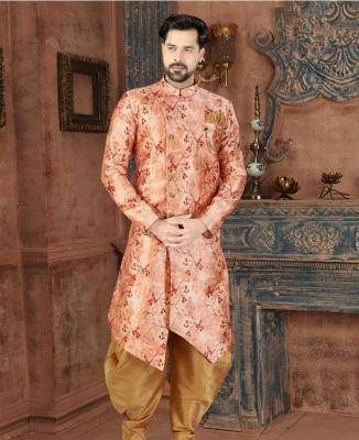 Printed Silk Peach Mens Sherwani