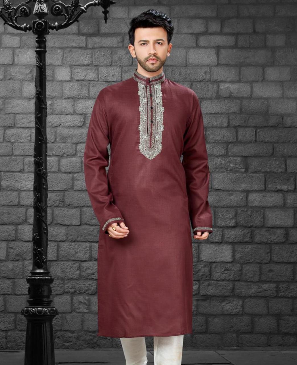 Embroiderd work Cotton Satin Maroon Kurta Pajama
