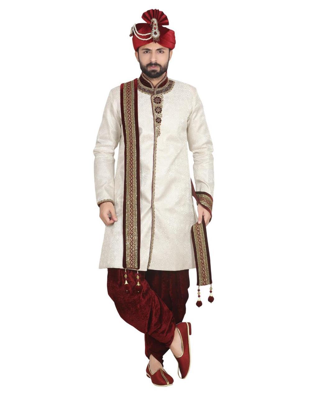 Embroidered Jacquard Cream Sherwani