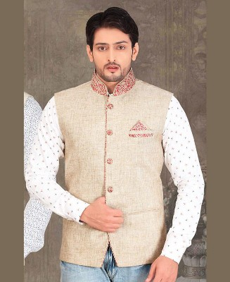 Thread Work Jute Silk White Mens Waist Coat