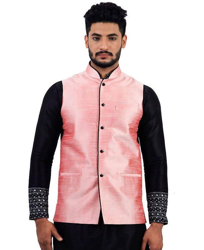 Plain Raw Silk Pink Mens Waist Coats