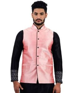 Plain Raw Silk Pink Mens Waist Coats
