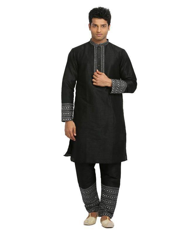 Lace Raw Silk Black Mens Kurta Pajama