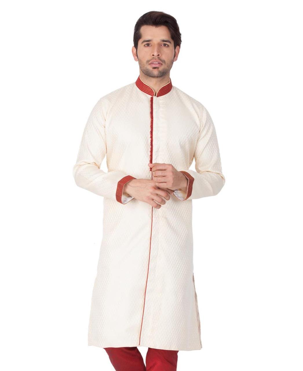 Printed Silk Cream Kurta Pajama