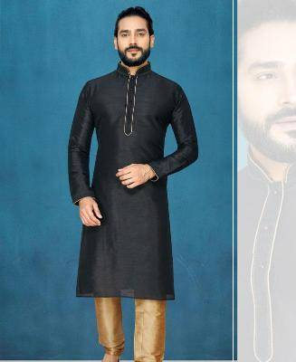Plain Silk Black Kurta Pajama