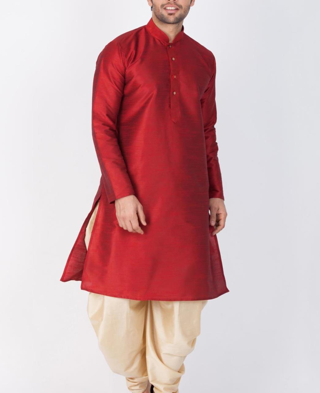 Plain Cotton Maroon Kurta Pajama