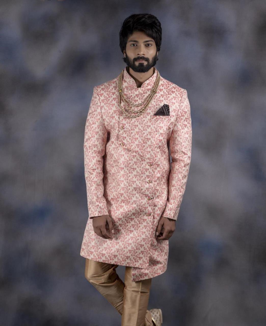 Printed Jacquard LIGHTPINK Kurta Pajama