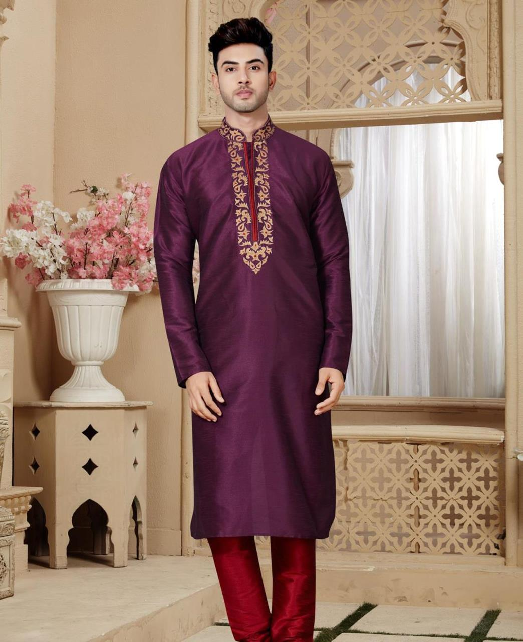 Plain Art Silk Purple Kurta Pajama