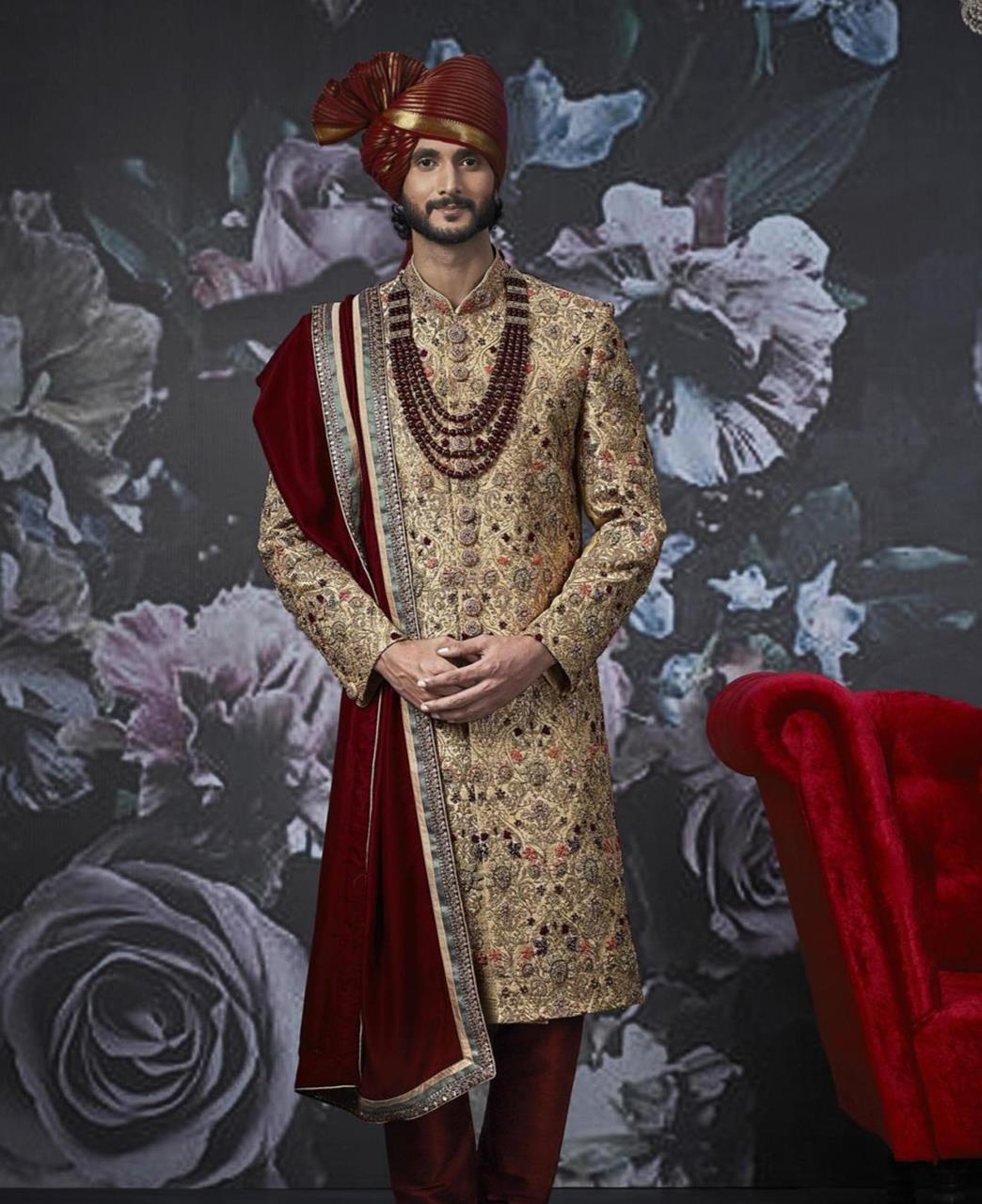 Embroidered Art Silk Gold Kurta Pajama