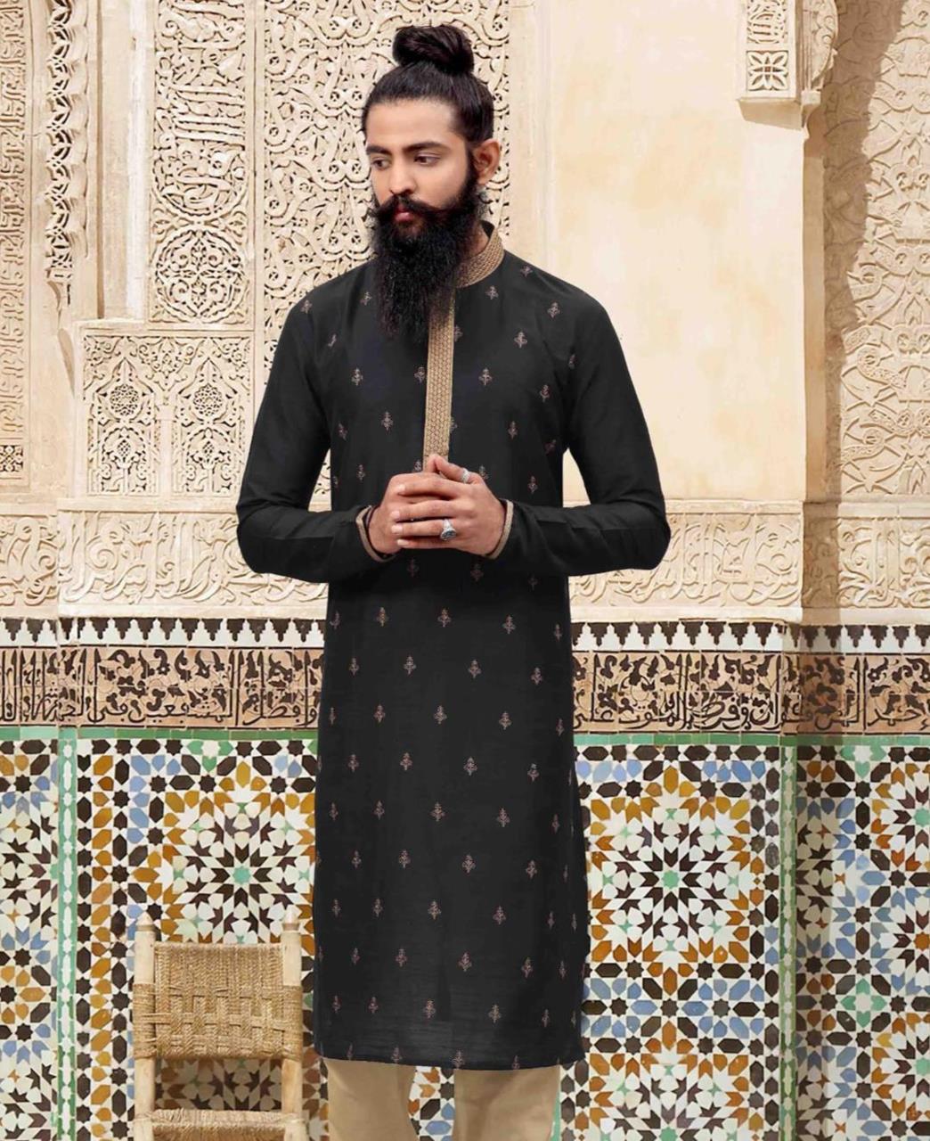Embroidered Polyester Black Kurta Pajama
