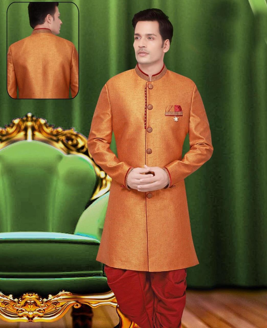 Plain Jute Silk Yellow Sherwani